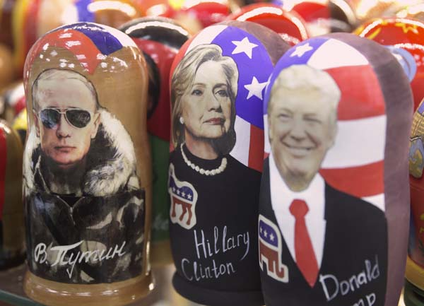 <div class='meta'><div class='origin-logo' data-origin='AP'></div><span class='caption-text' data-credit='AP Photo/Pavel Golovkin'>Traditional Russian wooden dolls called Matreska depicting from left, Russian president Vladimir Putin and US presidential candidates Hillary Clinton and Donald Trump</span></div>
