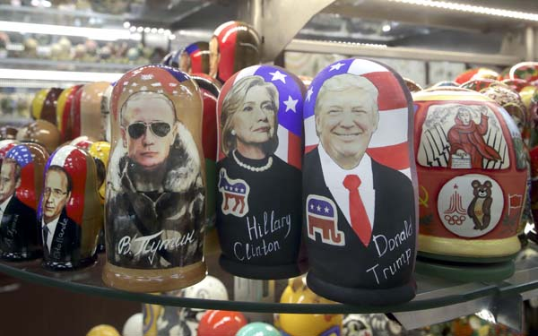 <div class='meta'><div class='origin-logo' data-origin='AP'></div><span class='caption-text' data-credit='AP Photo/Pavel Golovkin'>Traditional Russian wooden dolls called Matreska depicting from left, French president Francois Hollande, Russian president Vladimir Putin and Hillary Clinton and Donald Trump</span></div>