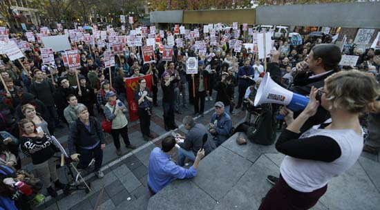 <div class='meta'><div class='origin-logo' data-origin='AP'></div><span class='caption-text' data-credit='AP'>Hundreds of protesters take part in a protest against the election of President-elect Donald Trump, Wednesday, Nov. 9, 2016, in downtown Seattle. (AP Photo/Ted S. Warren)</span></div>
