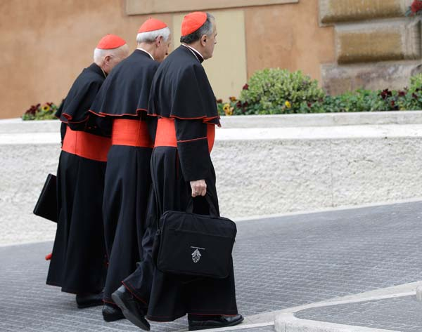 <div class='meta'><div class='origin-logo' data-origin='AP'></div><span class='caption-text' data-credit='AP Photo/Andrew Medichini'>Cardinals including Daniel Nicholas DiNardo, right, arrive for a meeting, at the Vatican</span></div>