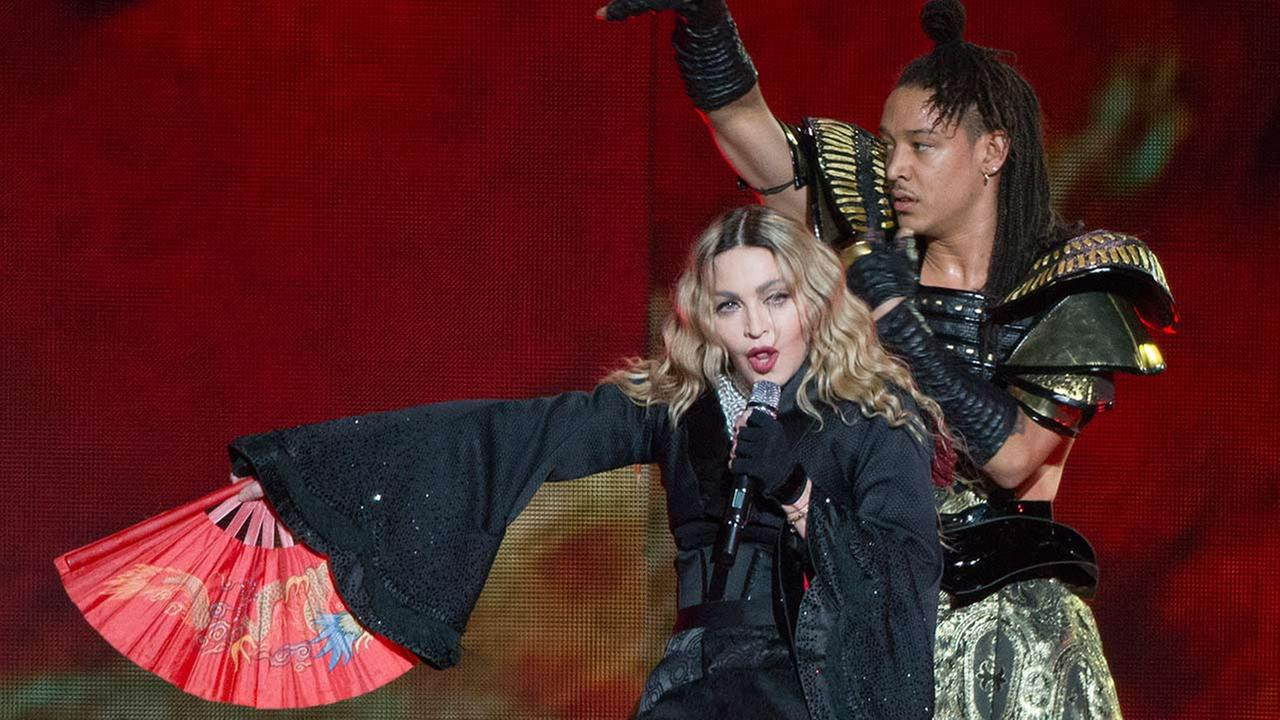 Madonna performs on stage, as part of her Rebel Heart Tour, Wednesday, Dec. 9, 2015, in Paris.