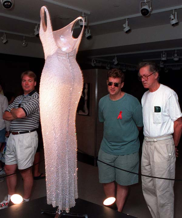 <div class='meta'><div class='origin-logo' data-origin='AP'></div><span class='caption-text' data-credit='AP Photo/Marty Lederhandler'>The dress worn by Marilyn Monroe when she sang &#34;Happy Birthday&#34;  to President John F. Kennedy</span></div>