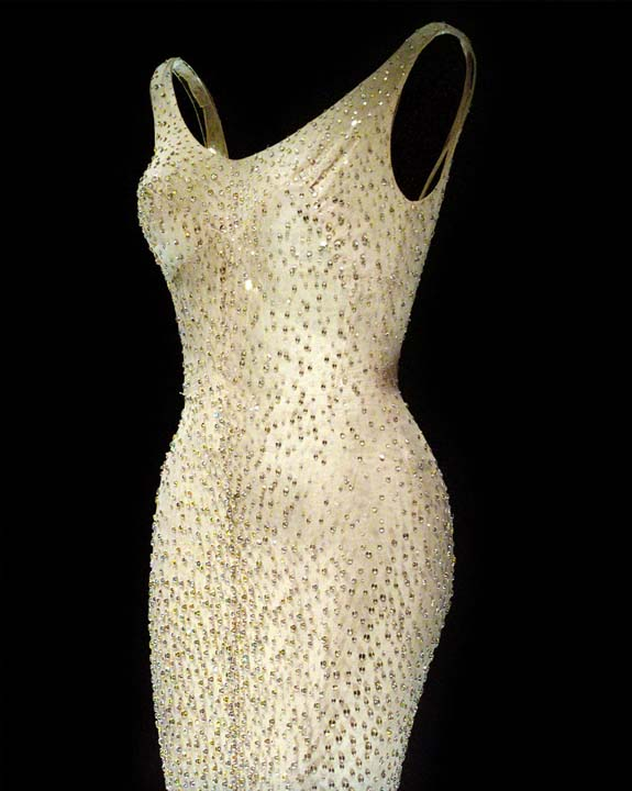 <div class='meta'><div class='origin-logo' data-origin='AP'></div><span class='caption-text' data-credit='AP Photo/Bebeto Matthews'>Marilyn Monroe's &#34;Happy Birthday, Mr. President&#34; dress on display at Christie's in New York</span></div>