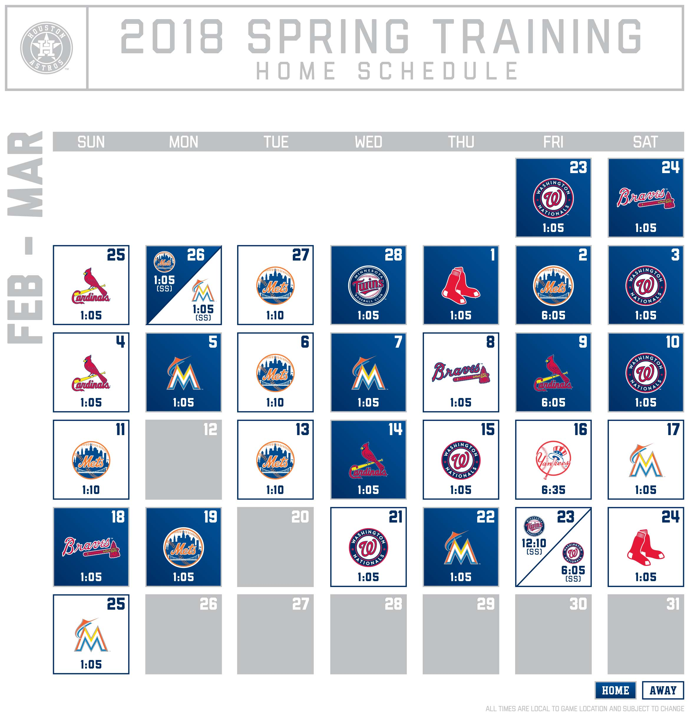 Nationals release 2018 Spring Training schedule