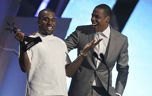 <div class='meta'><div class='origin-logo' data-origin='AP'></div><span class='caption-text' data-credit='AP'>FILE - In this July 1, 2012, file photo, Kanye West, left, and Jay-Z accept the award for best group for &#34;The Throne&#34; at the BET Awards in Los Angeles.</span></div>