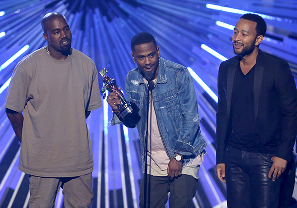 "<div class='meta'><div class='origin-logo' data-origin='AP'></div><span class='caption-text' data-credit='Matt Sayles/Invision/AP'>Kanye West, from left, Big Sean, and John Legend accept the award for video with a social message for ""One Man Can Change the World"" at the MTV Video Music Awards.</span></div>"