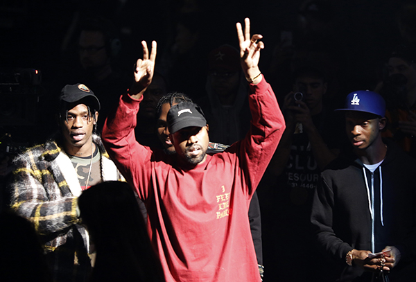 <div class='meta'><div class='origin-logo' data-origin='AP'></div><span class='caption-text' data-credit='AP'>Kanye West gestures to the audience at the unveiling of the Yeezy collection and album release for his latest album, &#34;The Life of Pablo,&#34; Thursday, Feb. 11, 2016.</span></div>