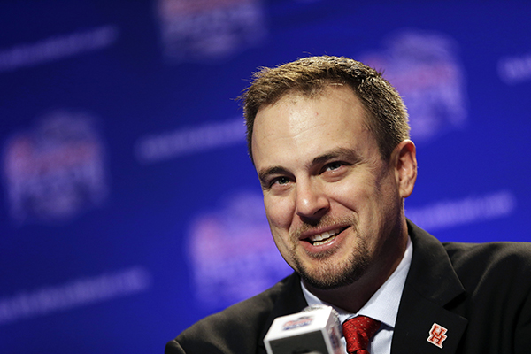 <div class='meta'><div class='origin-logo' data-origin='AP'></div><span class='caption-text' data-credit='AP'>Houston head coach Tom Herman speaks during a press conference for the Peach Bowl NCAA college football game Wednesday, Dec. 30, 2015, in Atlanta</span></div>