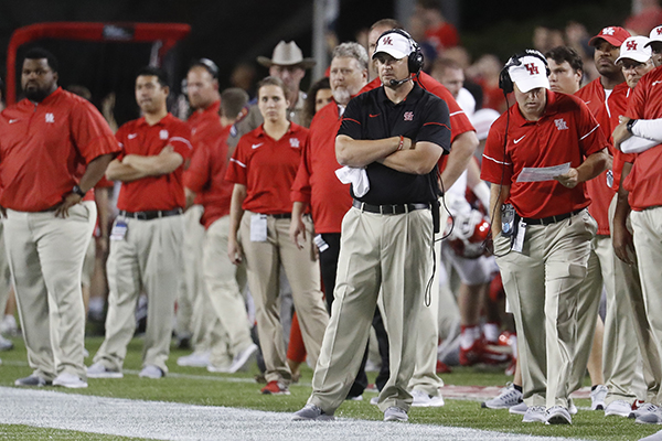 <div class='meta'><div class='origin-logo' data-origin='AP'></div><span class='caption-text' data-credit='AP'>Houston coach Tom Herman stands on the sidelind during he first half of the team's NCAA college football game against Cincinnati, Thursday, Sept. 15, 2016, in Cincinnati.</span></div>