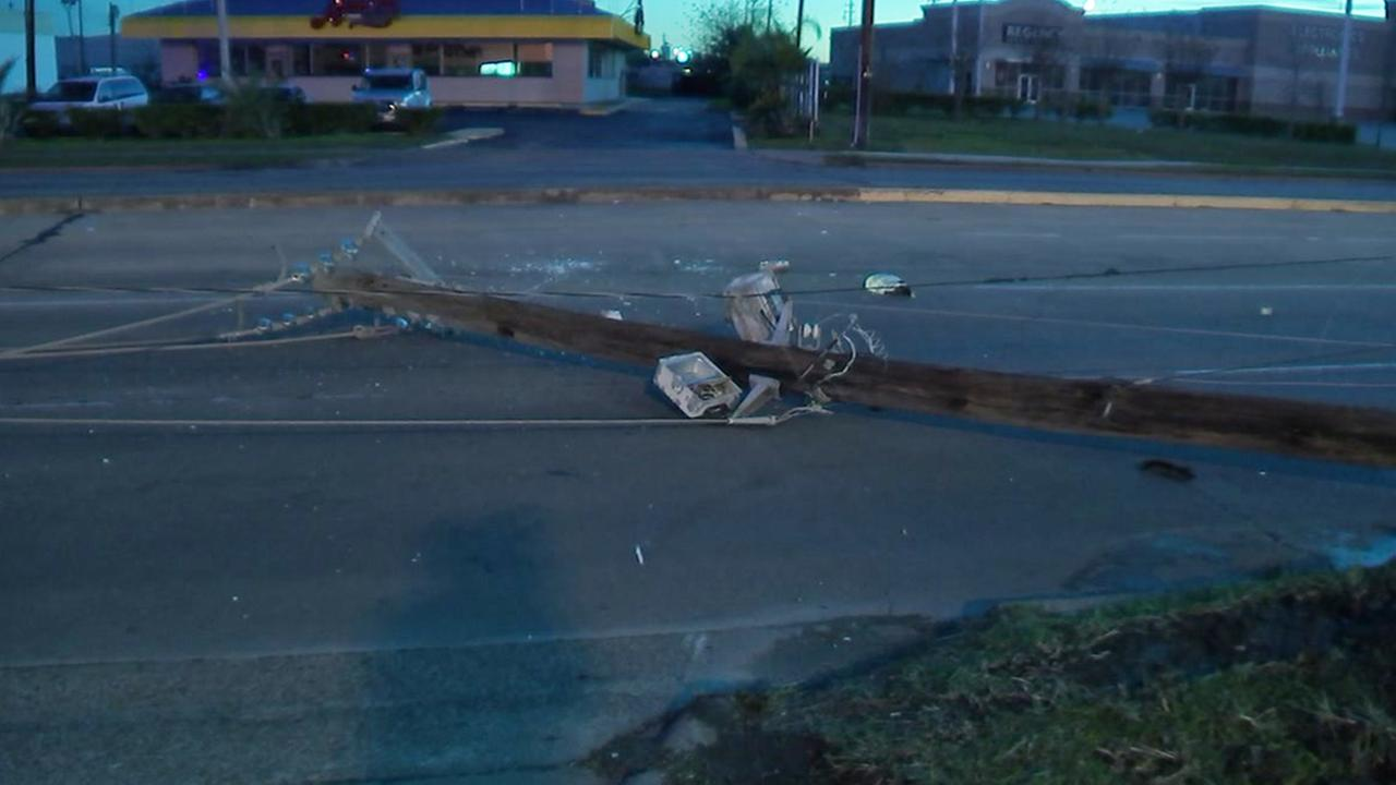 A suspected drunk driver knocked over a pole with her car this morning. She was later found eating at a taqueria, according to authorities.