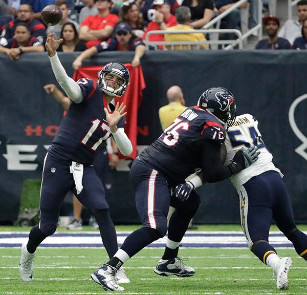 <div class='meta'><div class='origin-logo' data-origin='AP'></div><span class='caption-text' data-credit='AP'>Houston Texans quarterback Brock Osweiler (17) passes during the first half of an NFL football game Sunday, Nov. 27, 2016, in Houston. (AP Photo/David J. Phillip)</span></div>