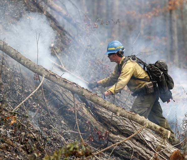 <div class='meta'><div class='origin-logo' data-origin='AP'></div><span class='caption-text' data-credit='AP Photo/John Bazemore'>Firefighter Kevin Zimmer works to control a wildfire Tuesday, Nov. 15, 2016, in Clayton, Ga.</span></div>