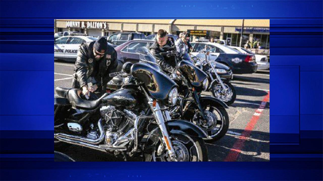 Bikers from Pipe Hitters Union, Iron Syndicate, Rough Riders and the Marine Corps prepare for a motorcycle ride during the fundraiser for the Salvation Army Angel Tree program