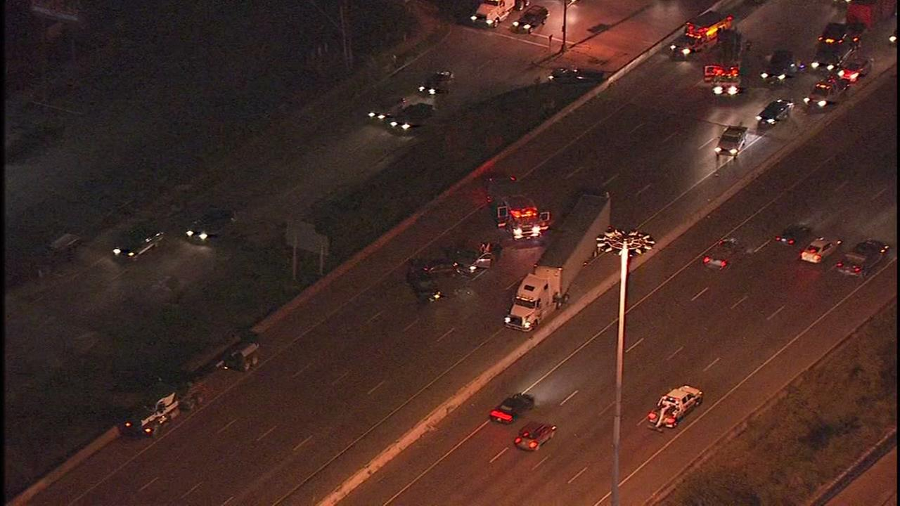 Traffic jam on Baytown East Freeway at Holland due to multi-vehicle accident
