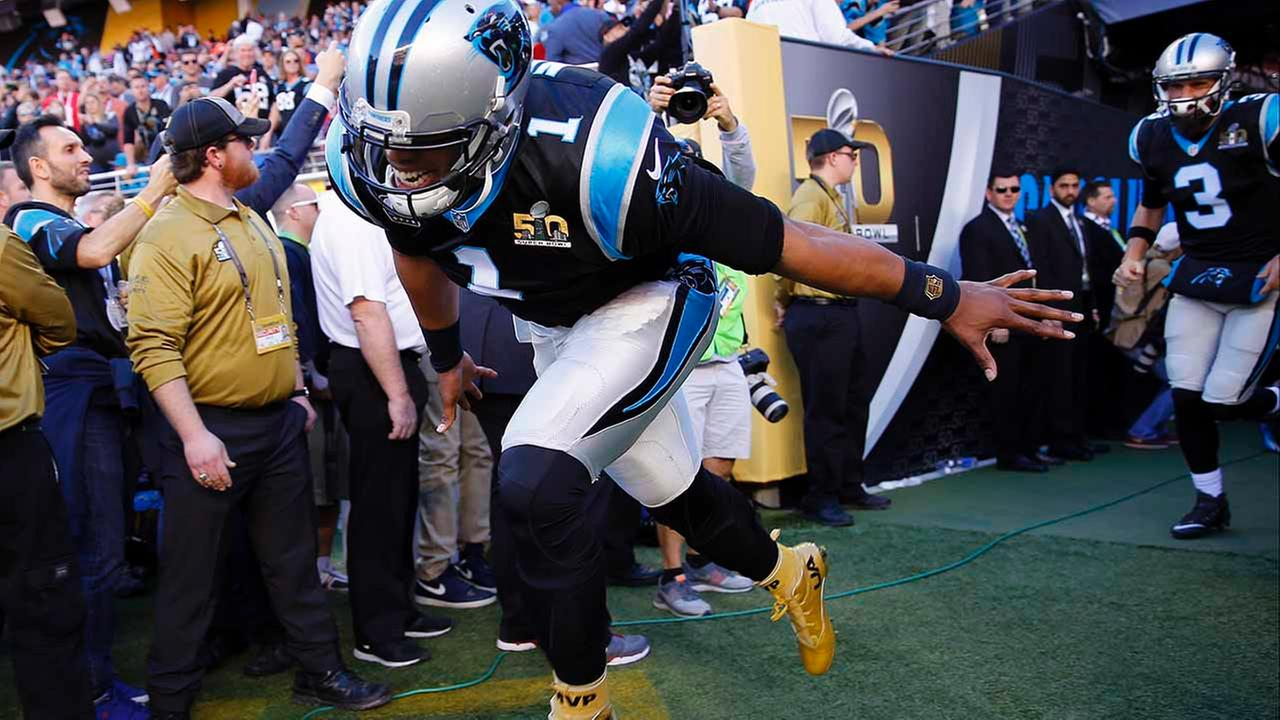 Carolina Panthers Cam Newton (1) runs onto the field before the NFL Super Bowl 50 football game against the Denver Broncos. Sunday, Feb. 7, 2016, in Santa Clara, Calif.