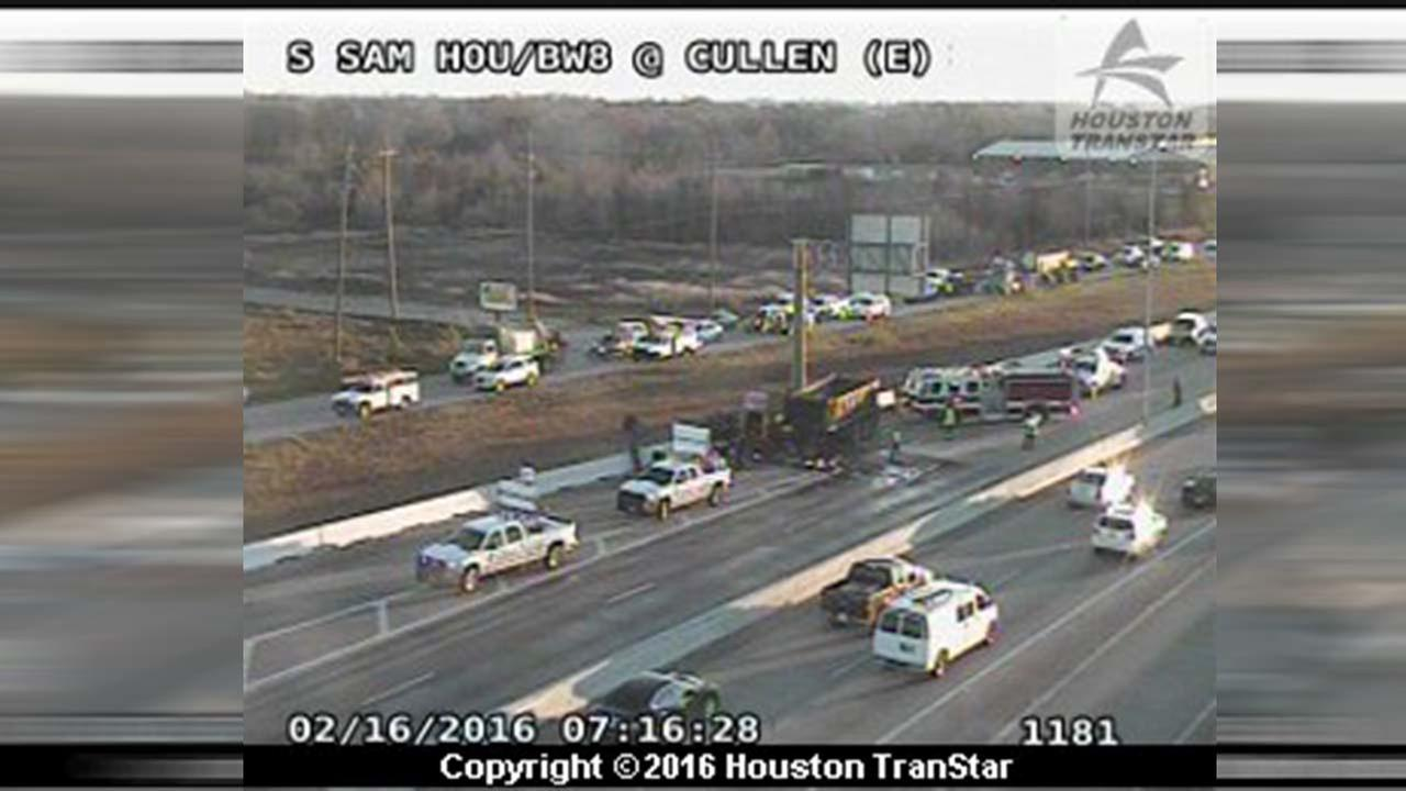 big rig wreck on Beltway 8 at Cullen