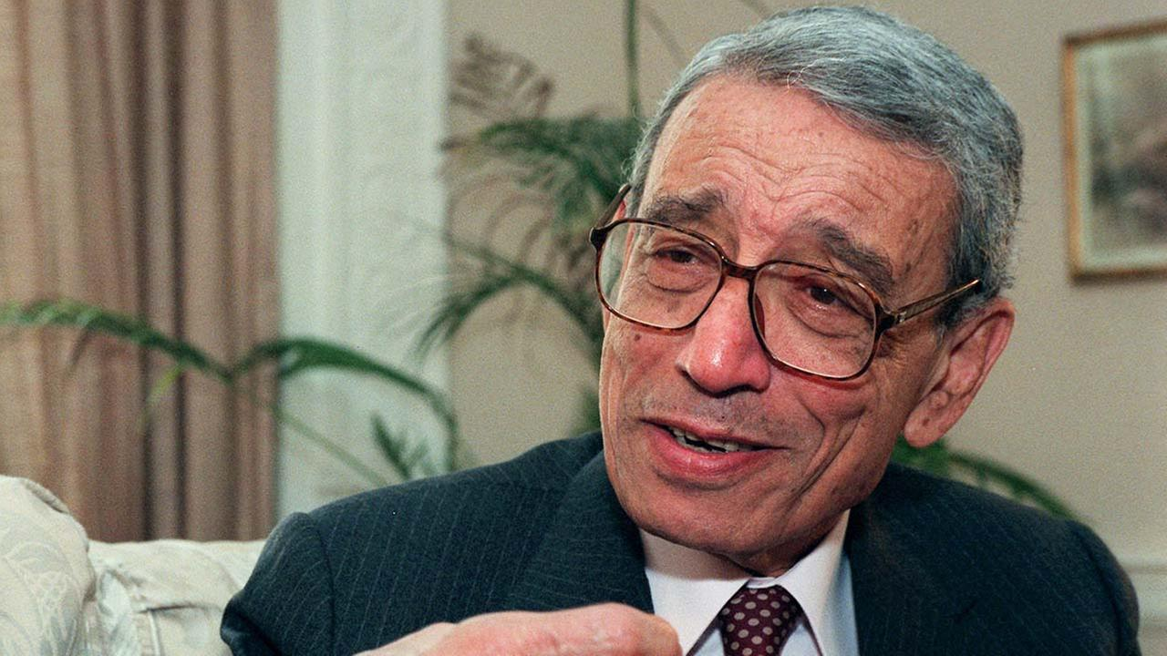 Former United Nations Secretary-General Boutros Boutros-Ghali gestures during an interview with the Associated Press on Wednesday, May 21, 1997