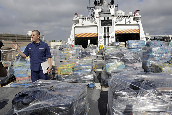 <div class='meta'><div class='origin-logo' data-origin='AP'></div><span class='caption-text' data-credit='AP Photo/Lynne Sladky'>Pallets containing more than 26 tons of cocaine worth at least $715 million sit on the flight deck of of 418-foot Coast Guard Cutter Hamilton, Thursday, Dec. 15, 2016.</span></div>
