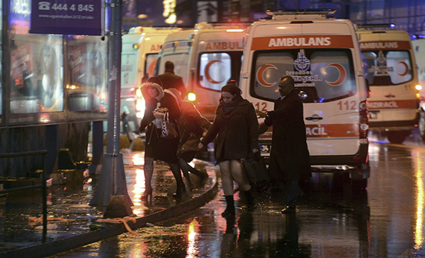 "<div class=""meta image-caption""><div class=""origin-logo origin-image ap""><span>AP</span></div><span class=""caption-text"">People leave as medics and security officials work at the scene after an attack at a popular nightclub in Istanbul, early Sunday, Jan. 1, 2017. (IHA via AP)</span></div>"