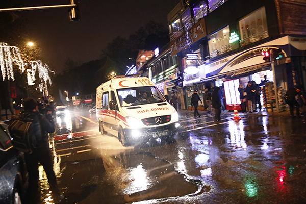<div class='meta'><div class='origin-logo' data-origin='AP'></div><span class='caption-text' data-credit='AP Photo/Halit Onur Sandal'>An ambulance rushes from the scene of an attack in Istanbul, early Sunday, Jan. 1, 2017. Turkey's state-run news agency said an armed assailant has opened fire at a nightclub.</span></div>