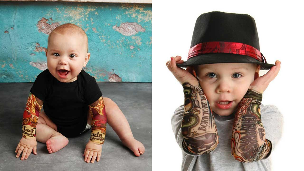 A mother of four has created a line of tattoo sleeves for babies and toddlers.