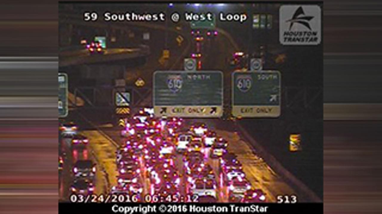 High water jams traffic on Southwest Fwy inbound at 610 West Loop