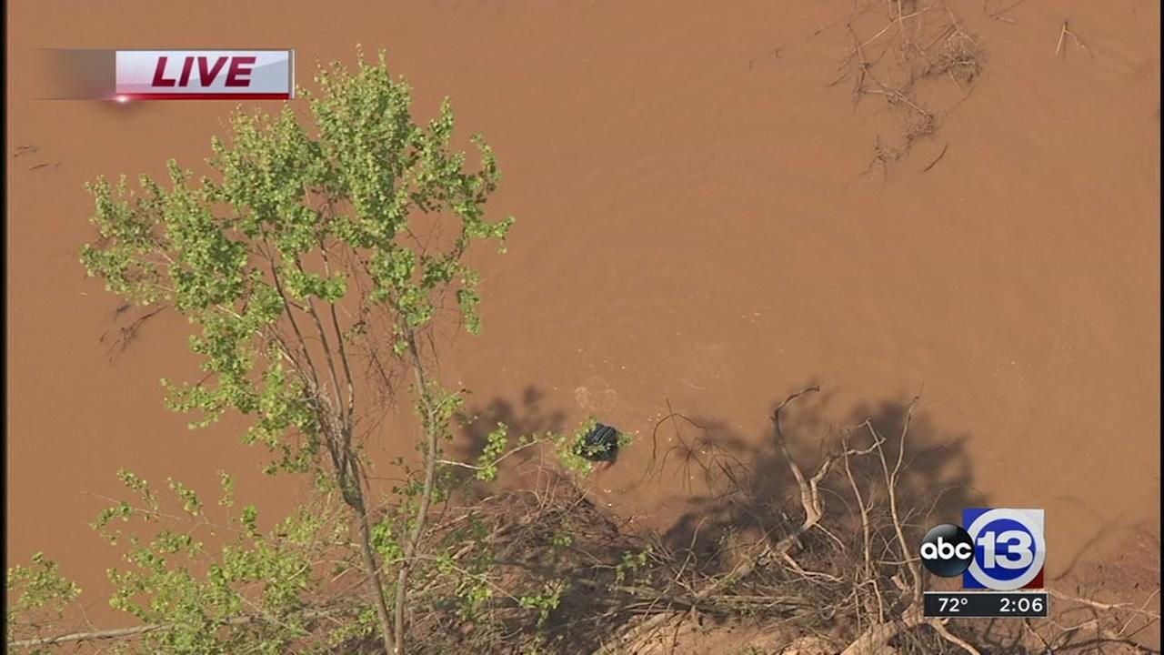 The suspect jumped into the Brazos River to try to get away.
