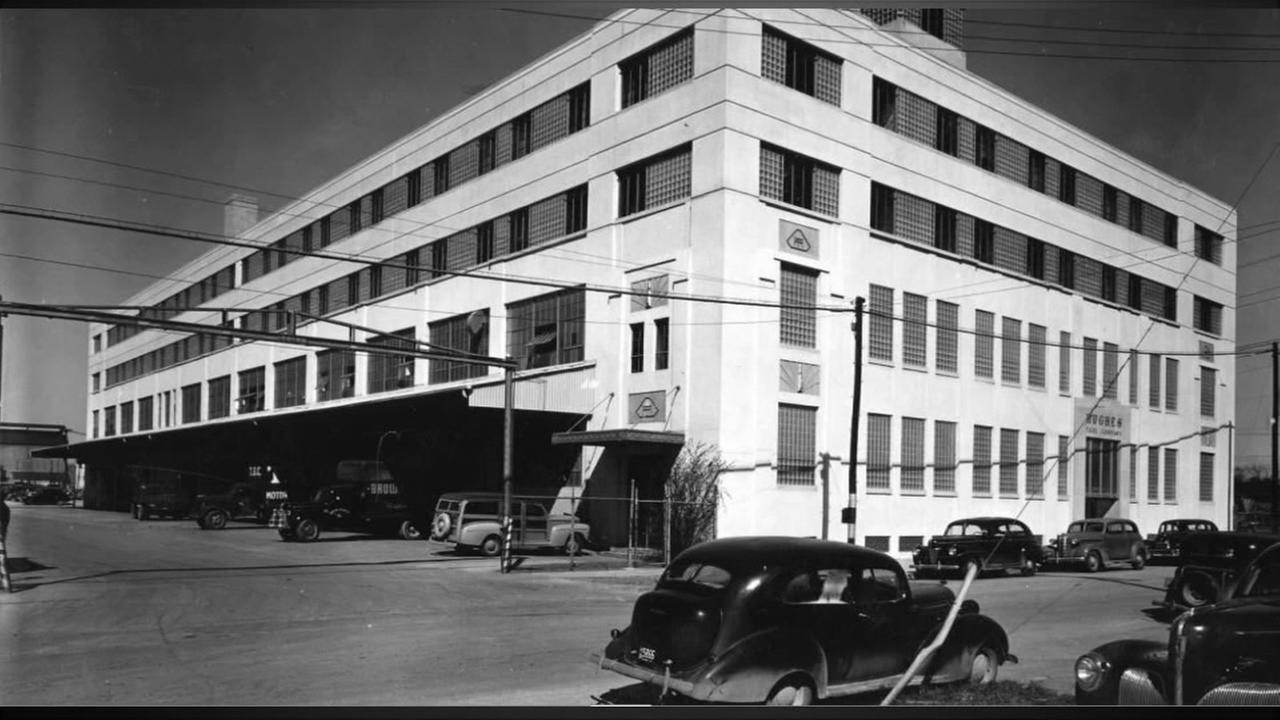 Exterior view of the Hughes Finished Stock and Shipping Department building, at the Hughes Tool Company, Houston. Photo: Houston Public Library-HMRC