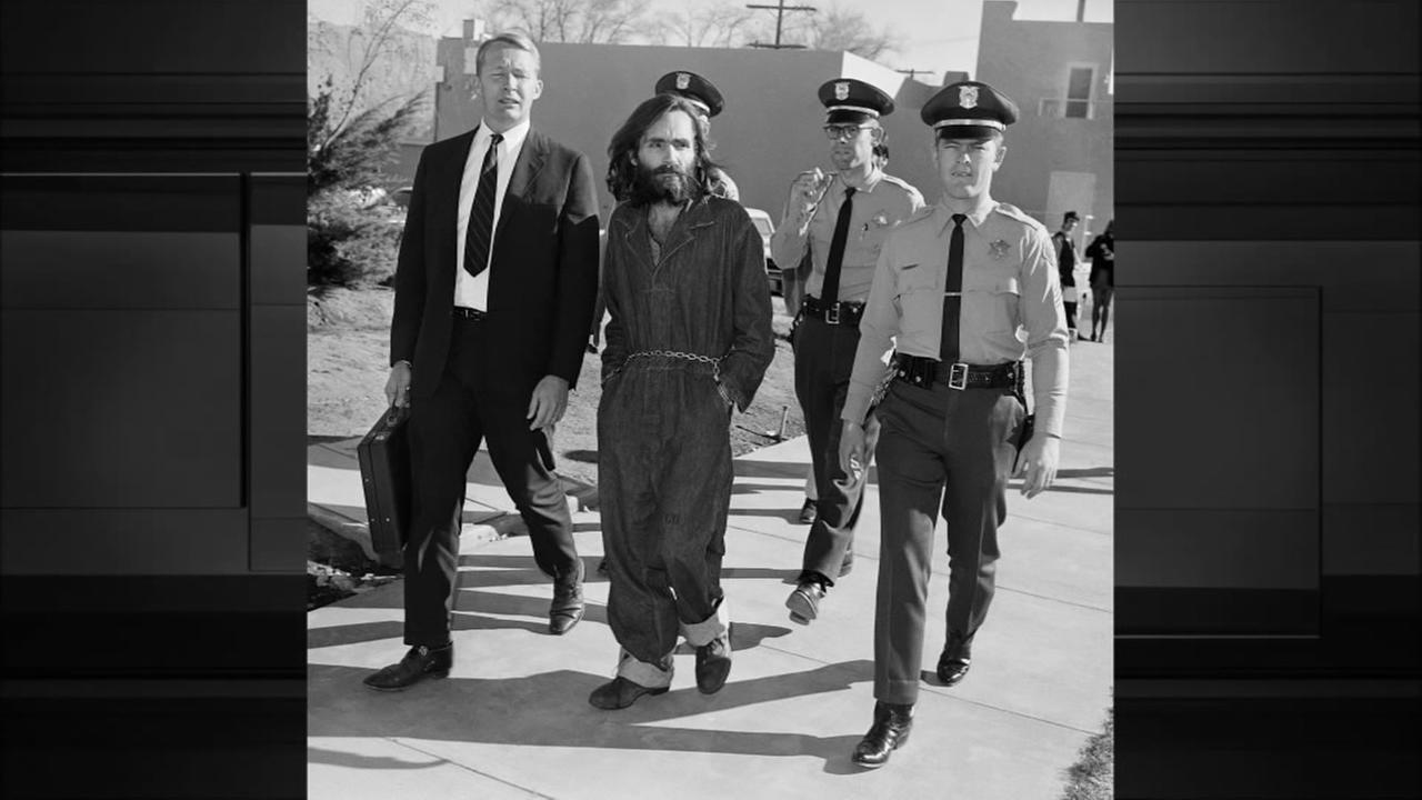 This Dec. 3, 1969 file photo shows Charles Manson en route to court in Independence, Calif., Dec. 3, 1969.