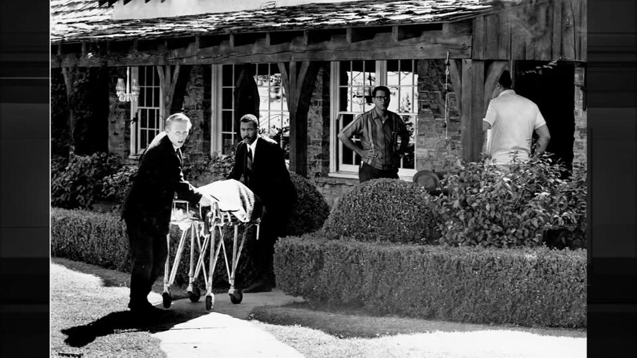 The body of actress Sharon Tate is taken from her rented house on Cielo Drive in Beverly Hills, Calif., on Aug. 9, 1969.