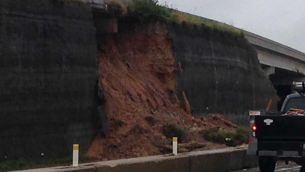 Portion of 290 support wall collapsed Monday during the flooding.