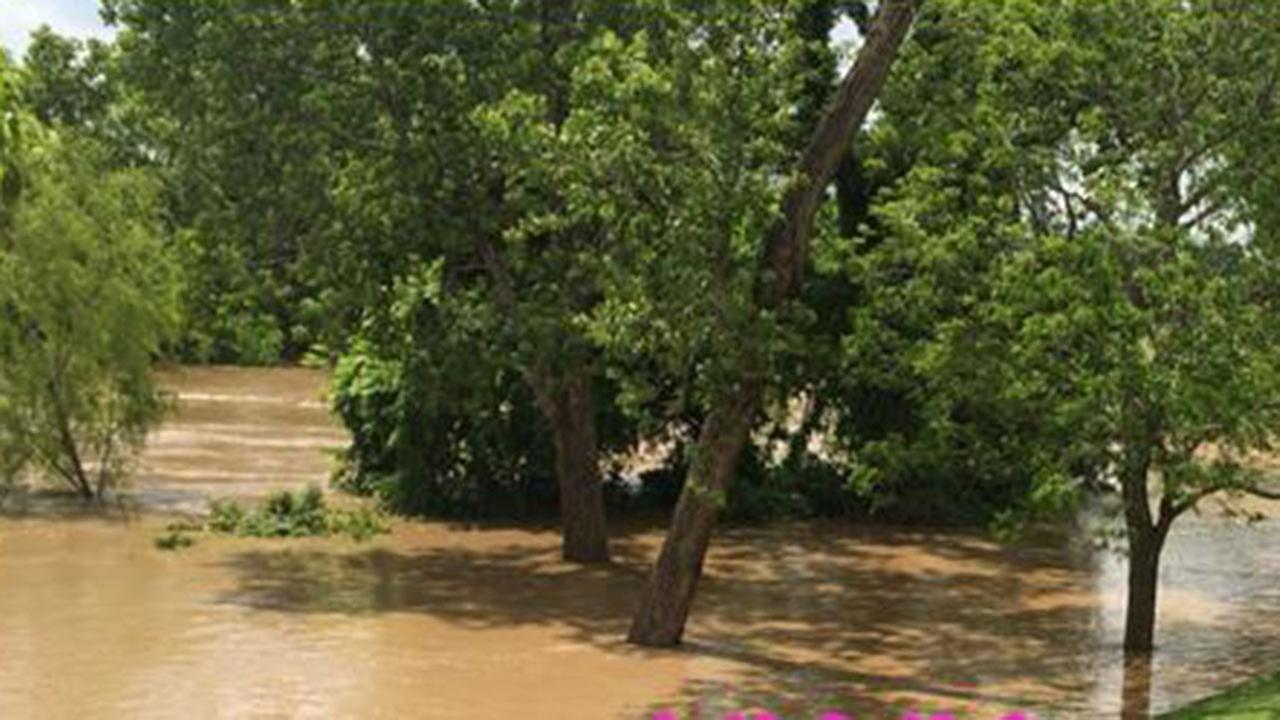 Viewer-submitted image showing the Colorado River overflowing in Wharton.Krystle Henry