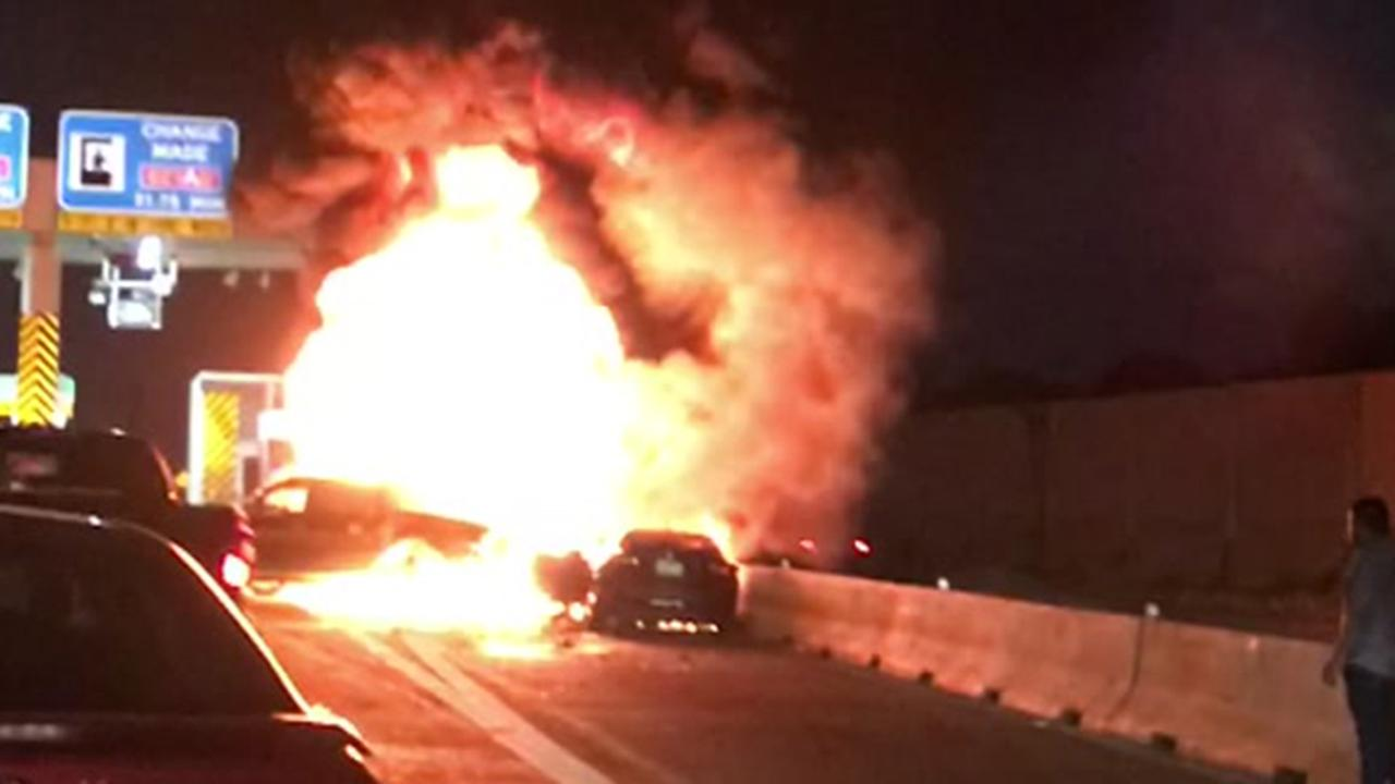 Vehicle engulfed in flames on Beltway 8