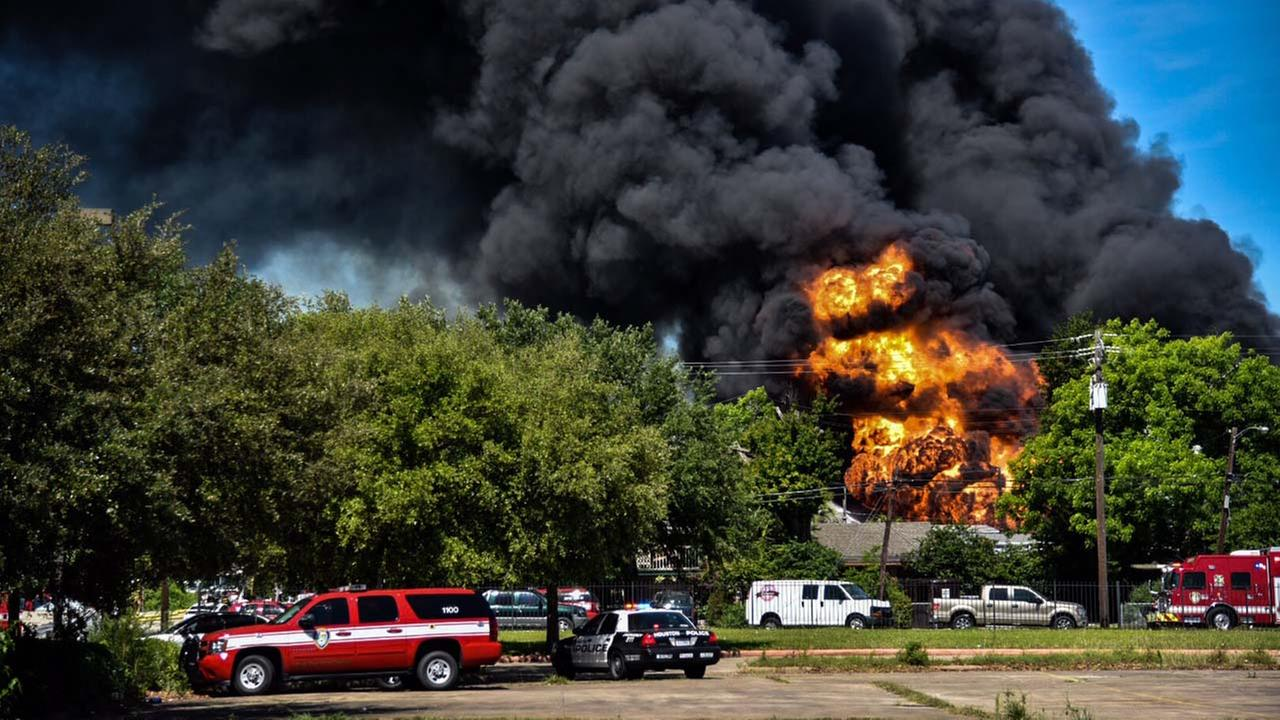 A massive fire is burning at an industrial complex in Spring Branch.