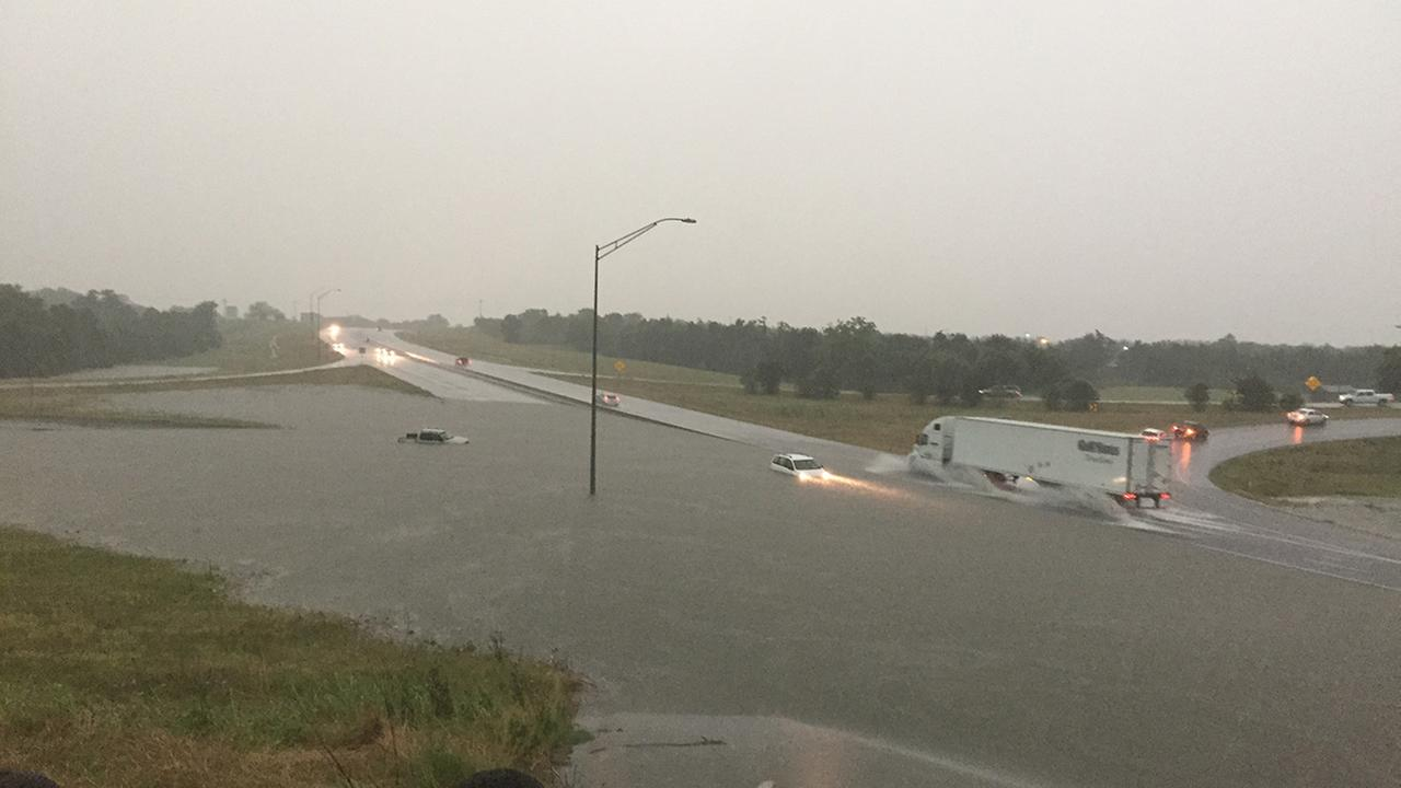 High water was spotted on Highway 290 at Highway 36 in Brenham. May 26, 2016