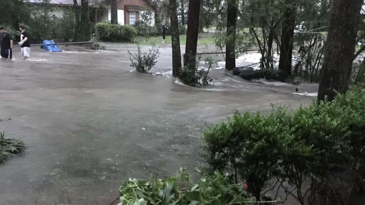 Front yard flooded in Conroe