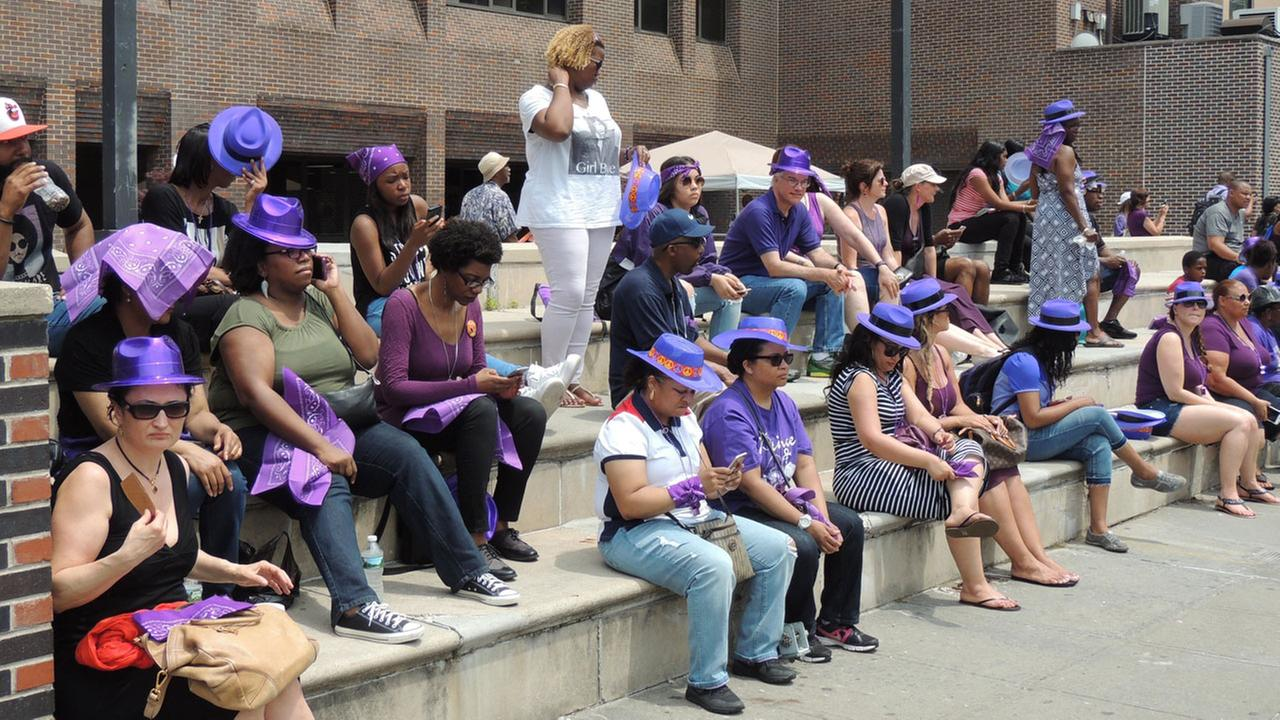 Fans, some wearing purple, attend the Prince Born Day Purple People Party? in New York on Saturday, June 4, 2016.