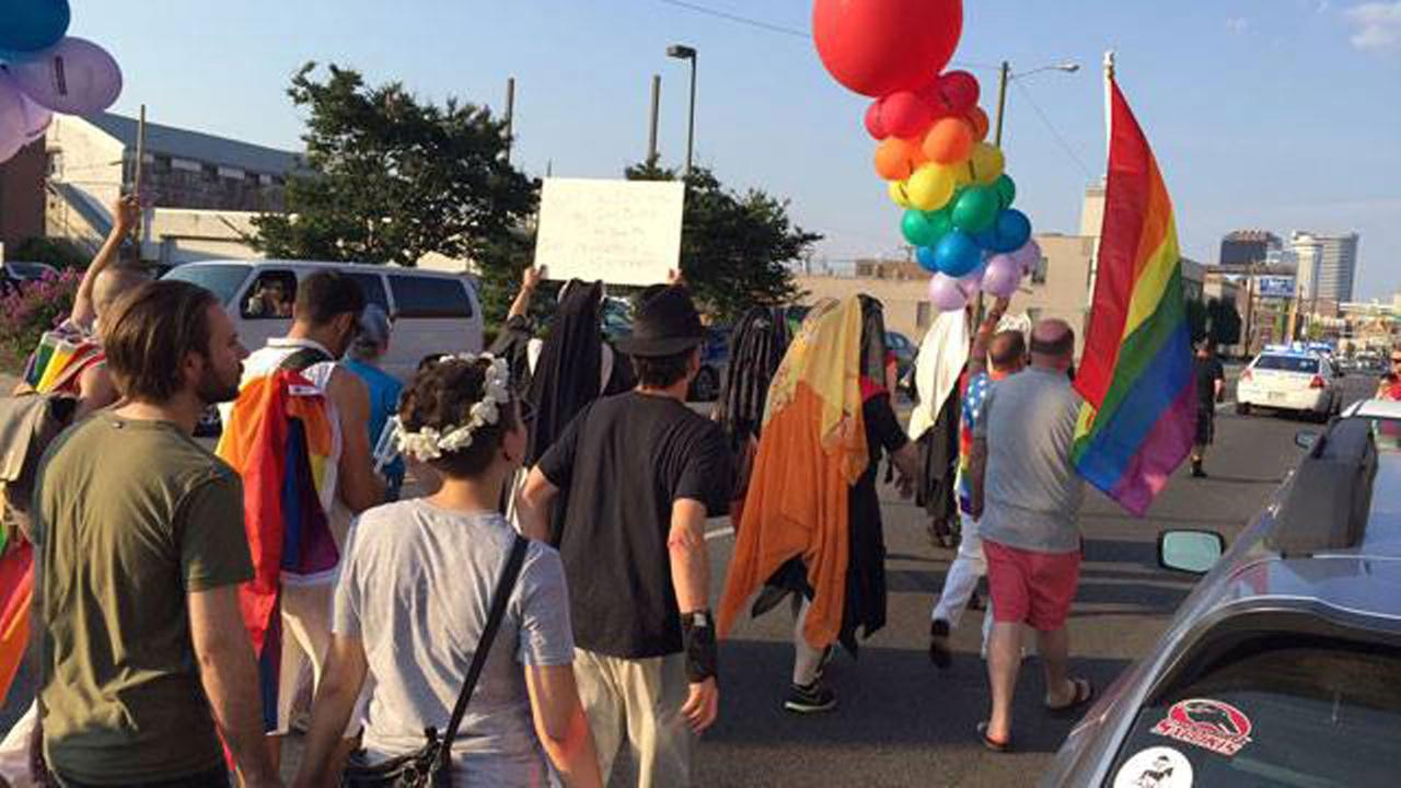Demonstrators march through Midtown Nashville before a vigil in Public Square Park.WKRN-TV