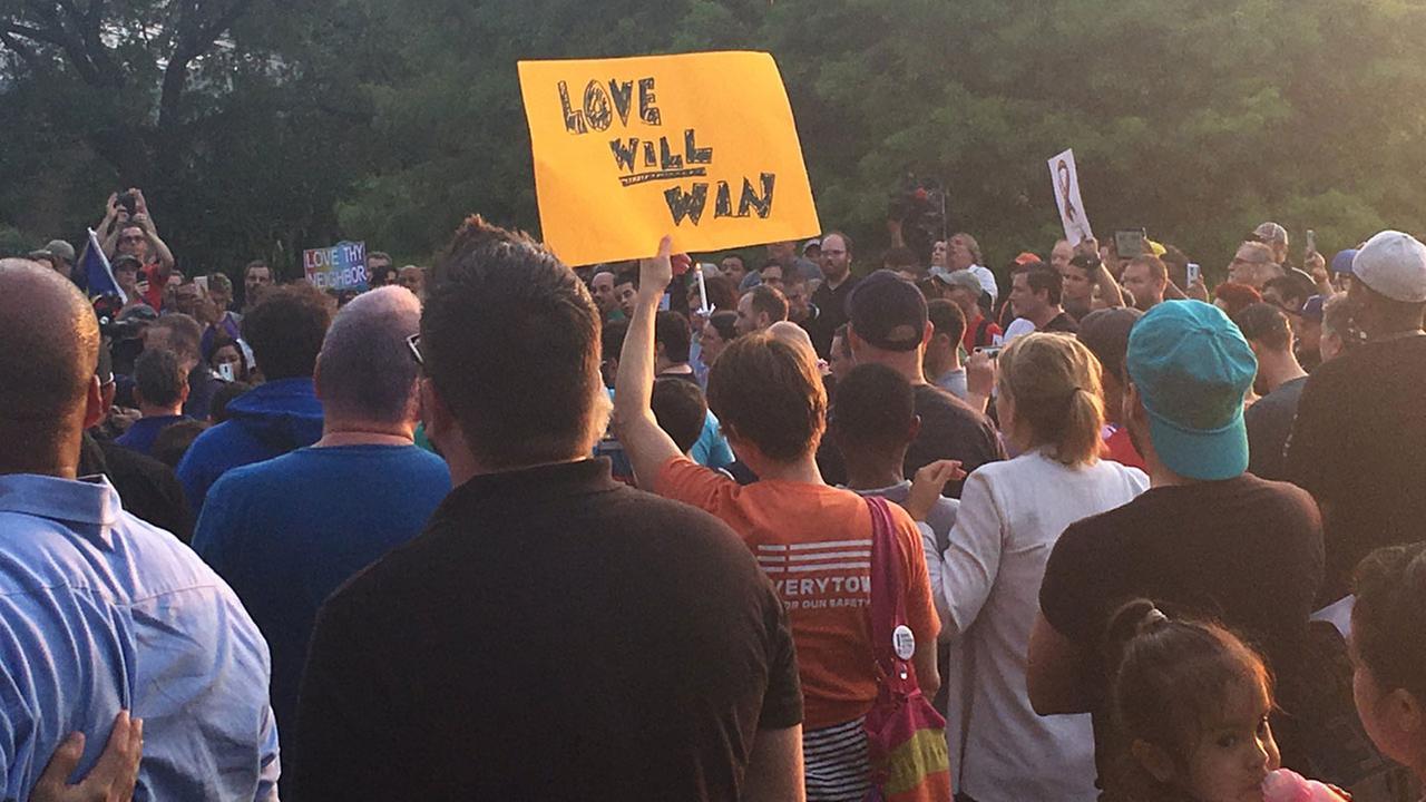 Houstonians gather in Hermann Park to remember those killed in Orlando.Brandon de Hoyos/KTRK