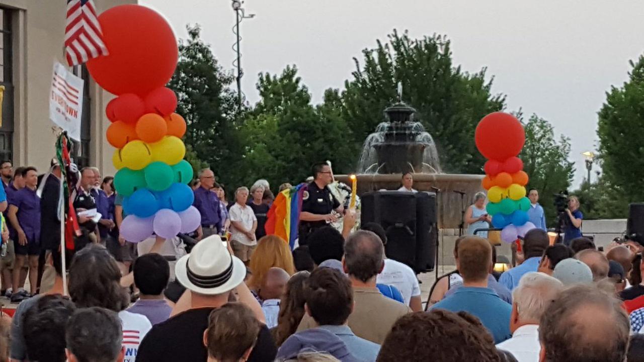 Nashville Police Lt. David Leavitt speaks at a candlelight vigil in Public Square Park in memory of Orlando victims.Metro Nashville Police Department