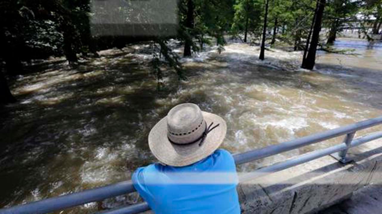 An onlooker watches the omal River rush by in Gruene, Texas, Thursday, June 2, 2016.