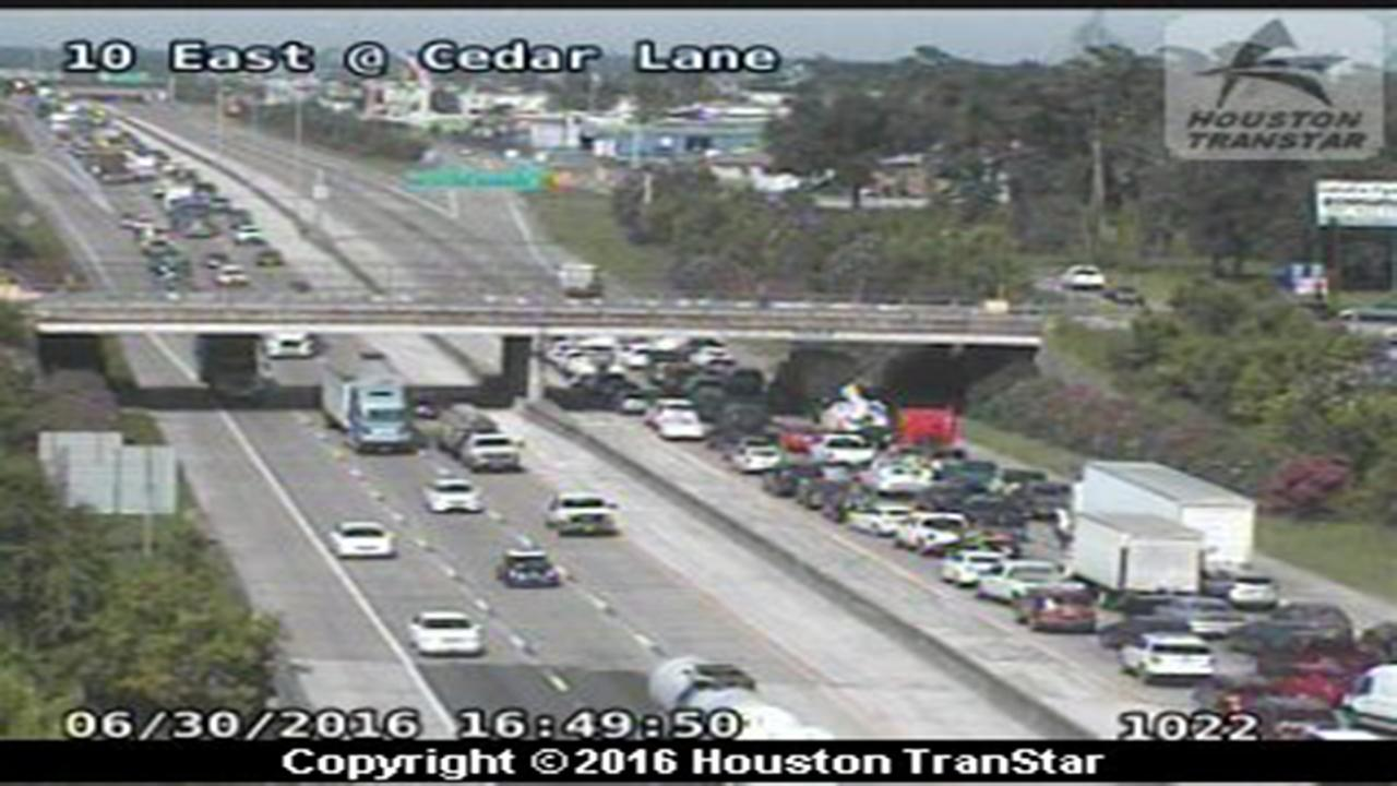 Two-vehicle accident closes all lanes of I-10 eastbound at Cedar Lane