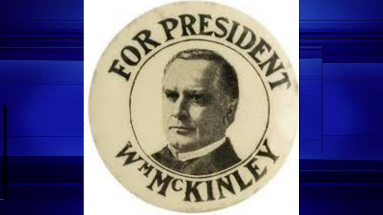 William McKinley button in the 1896 election, known for its use of buttons