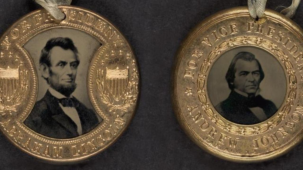 Campaign button for 1864 presidential election showing bust tintype portrait of Abraham Lincoln and Vice Presidential candidate, Andrew Johnson. 1860.Shutterstock / Everett Historical
