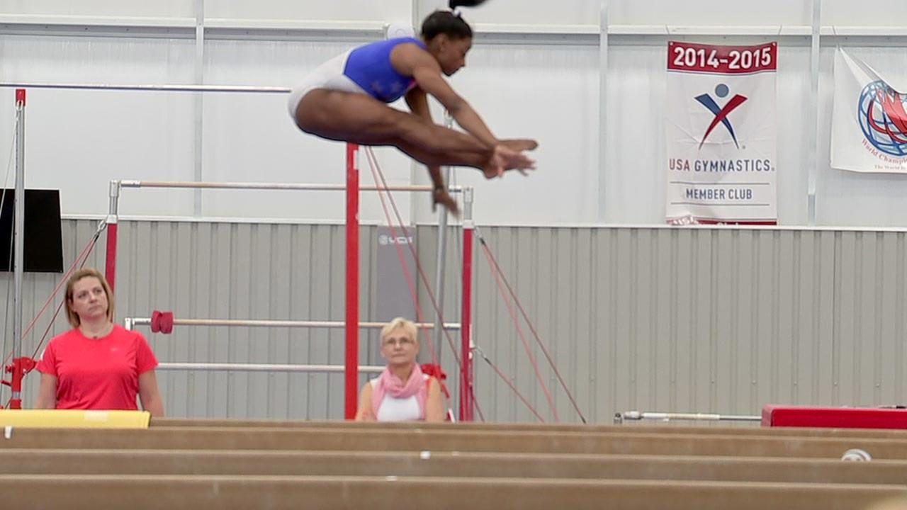 US gymnast Simone Biles worked out at her gym in Spring, Texas, in advance of the 2016 Summer Olympics.