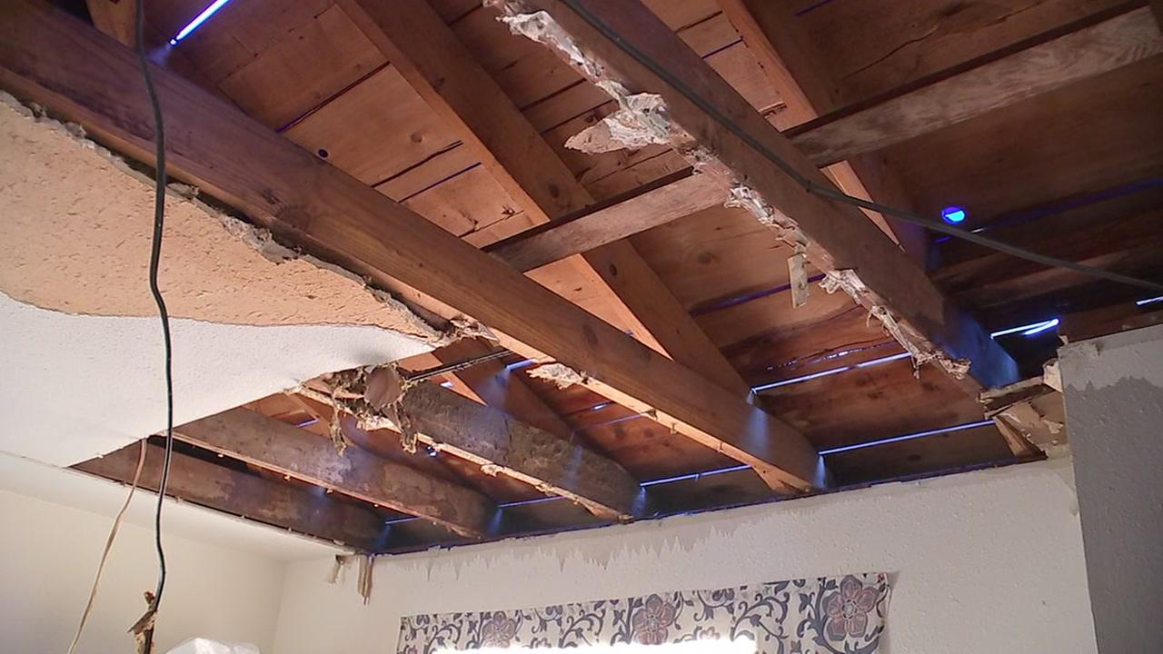 Family stunned when roof collapses after rain storm