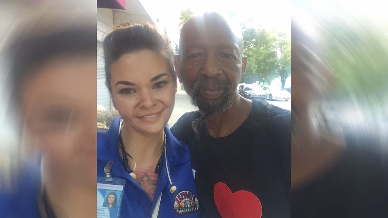 Young womans act of kindness for homeless man goes viral