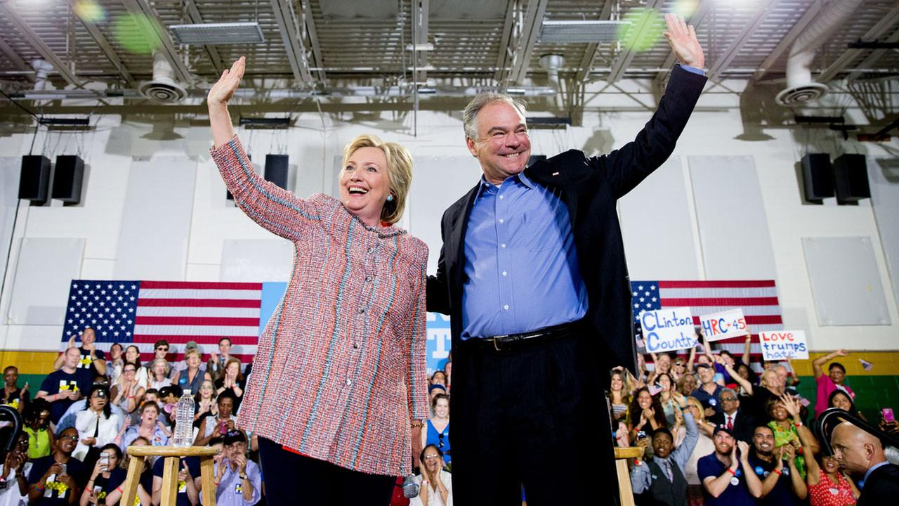 Hillary Clinton and Tim Kaine participate in a rally at Northern Virginia Community College in Annandale, Va., Thursday, July 14, 2016.