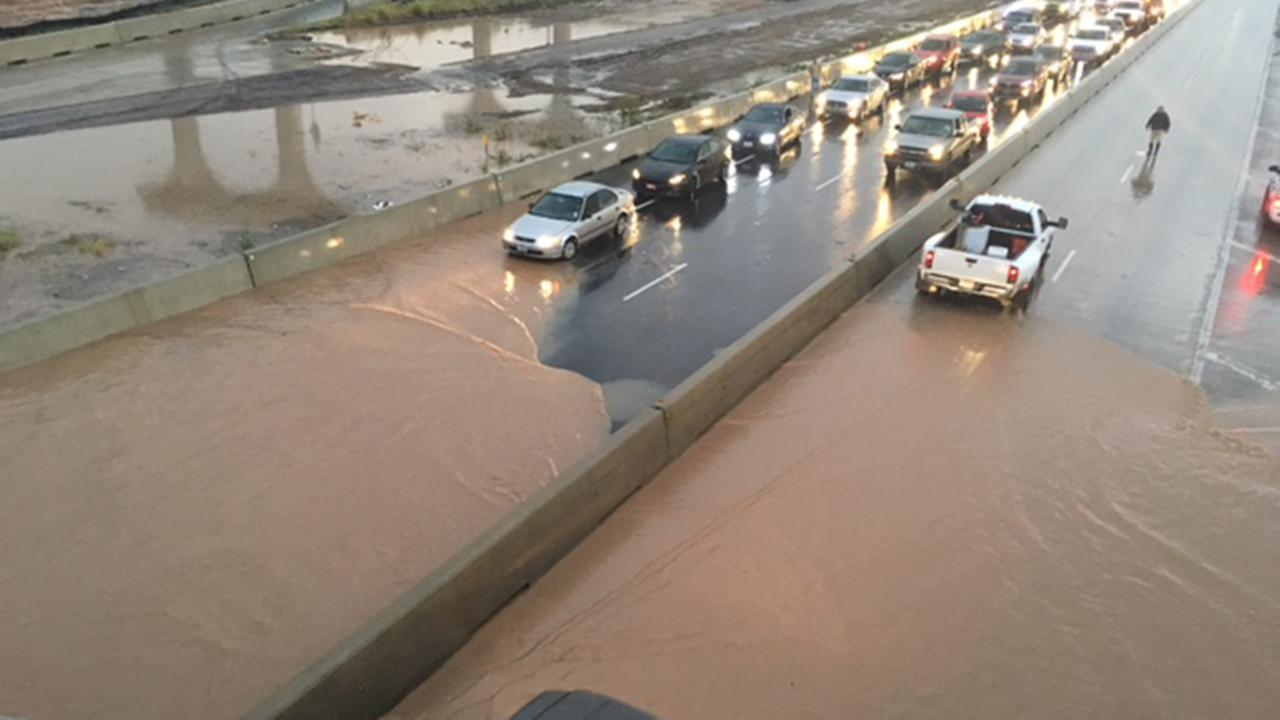 Reporter Courtney Fischer got this shot of high water along Highway 59 in both directions in Rosenberg.