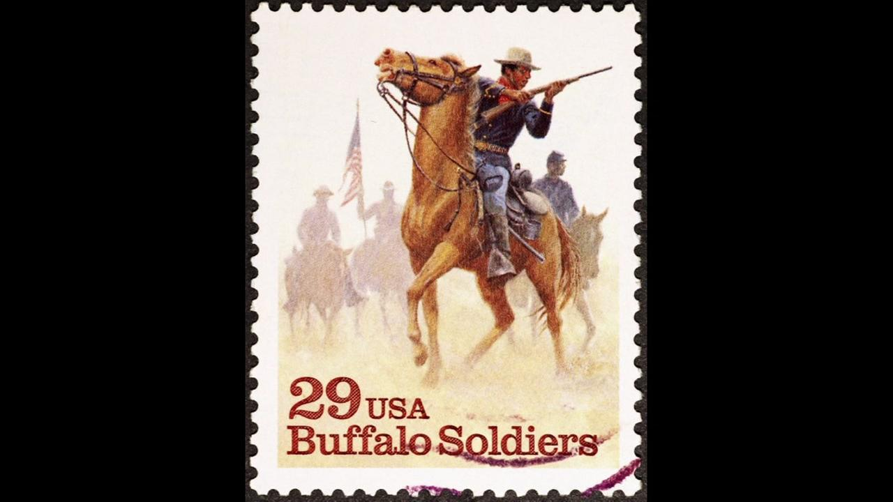 Buffalo soldiers on American postage stamp